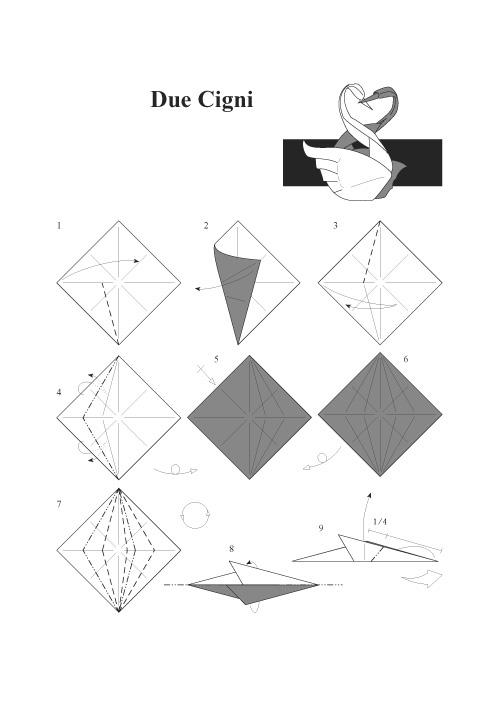 Оригами лебедь из бумаги: