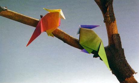 Оригами попугаи из бумаги: