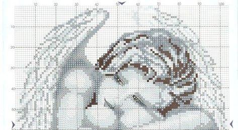 Схема для вышивки ангел монохром
