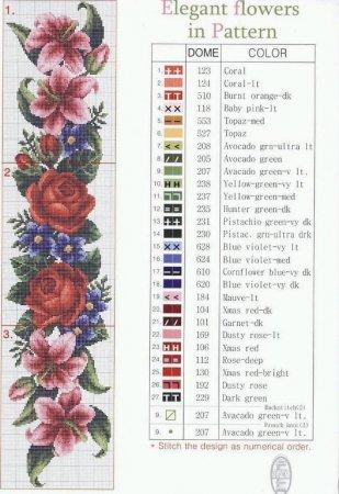 Много интересных композиций можно получить, используя цветочные схемы.  Существует огромное множество вышивки крестом...