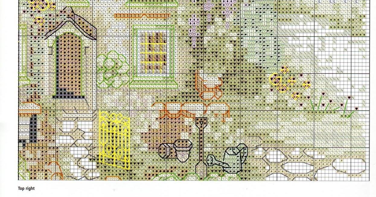 Схема для вышивки крестом с домиком 198