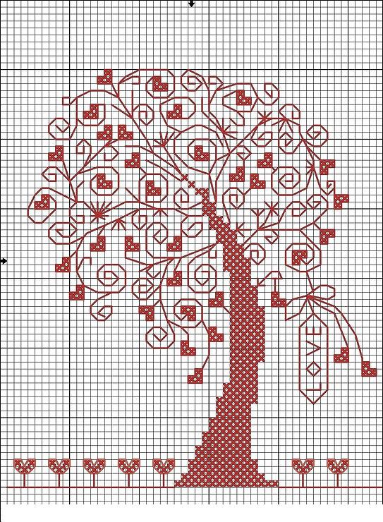 Дерево любви.Вышивка.