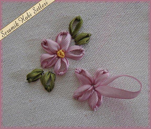 Цветочки из ленты вышивка