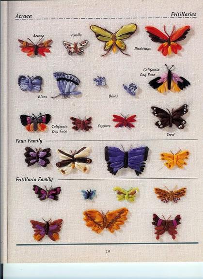 Схемы вышивки лентами Бабочек: