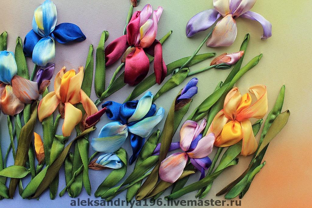 Тюльпаны и ирисы вышивка лентами