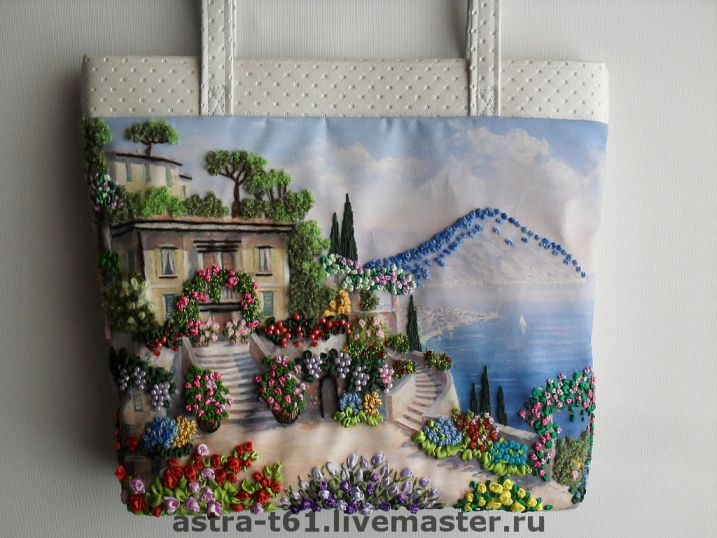вышивка сумки лентами фото