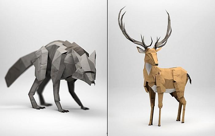Животные оригами из бумаги от