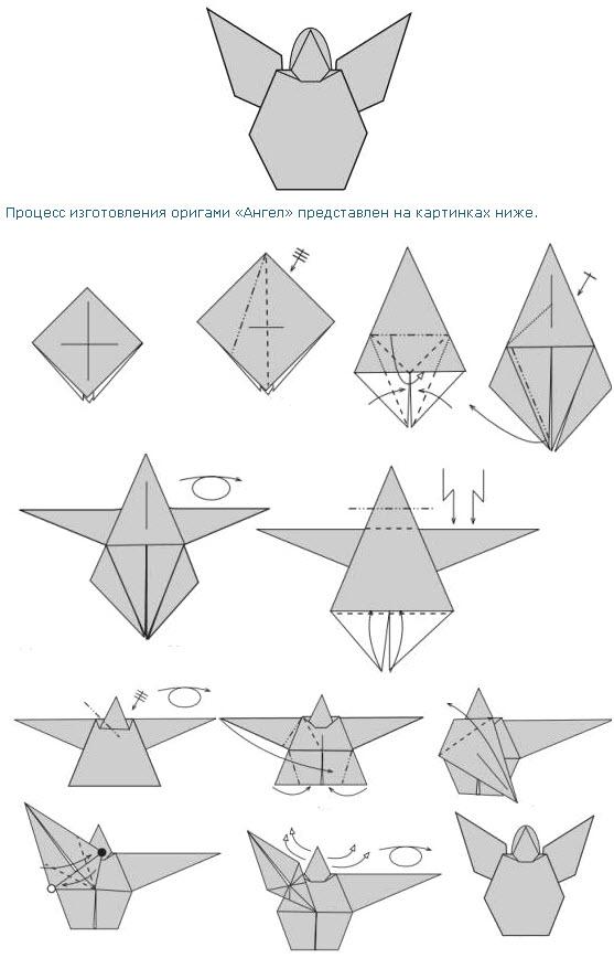 Оригами ангел из бумаги: cхема
