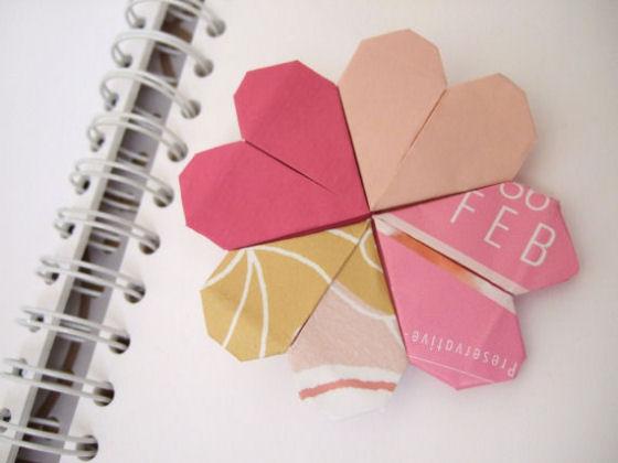 Оригами сердечко-закладка из