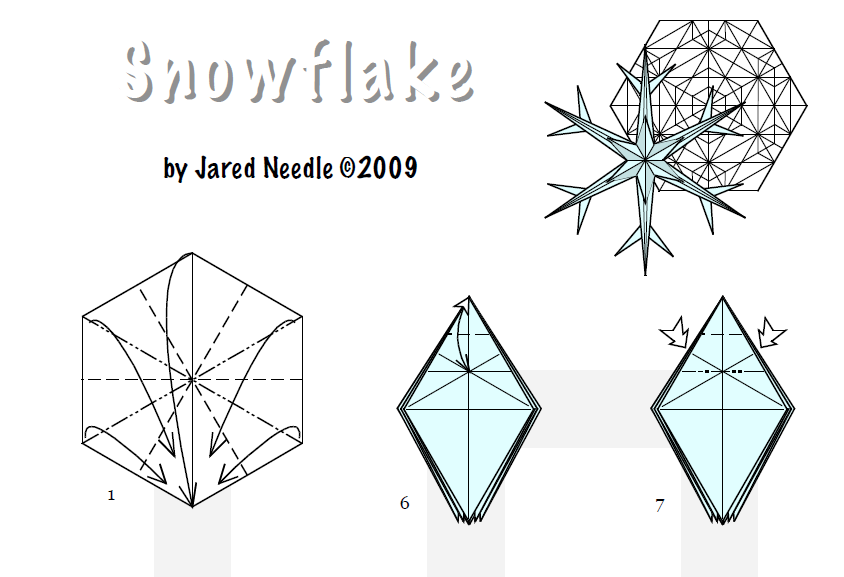 Снежинка оригами из бумаги:
