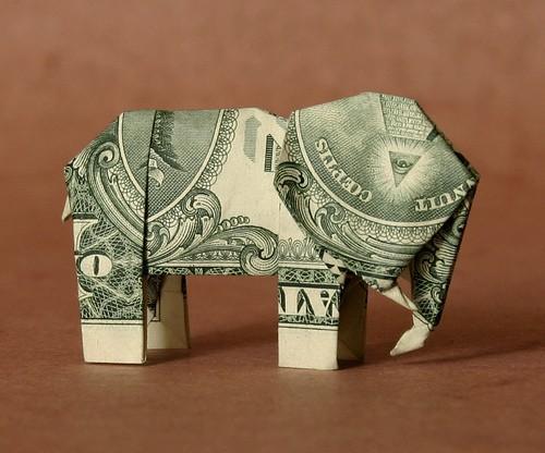 Оригами слон из купюр: схема