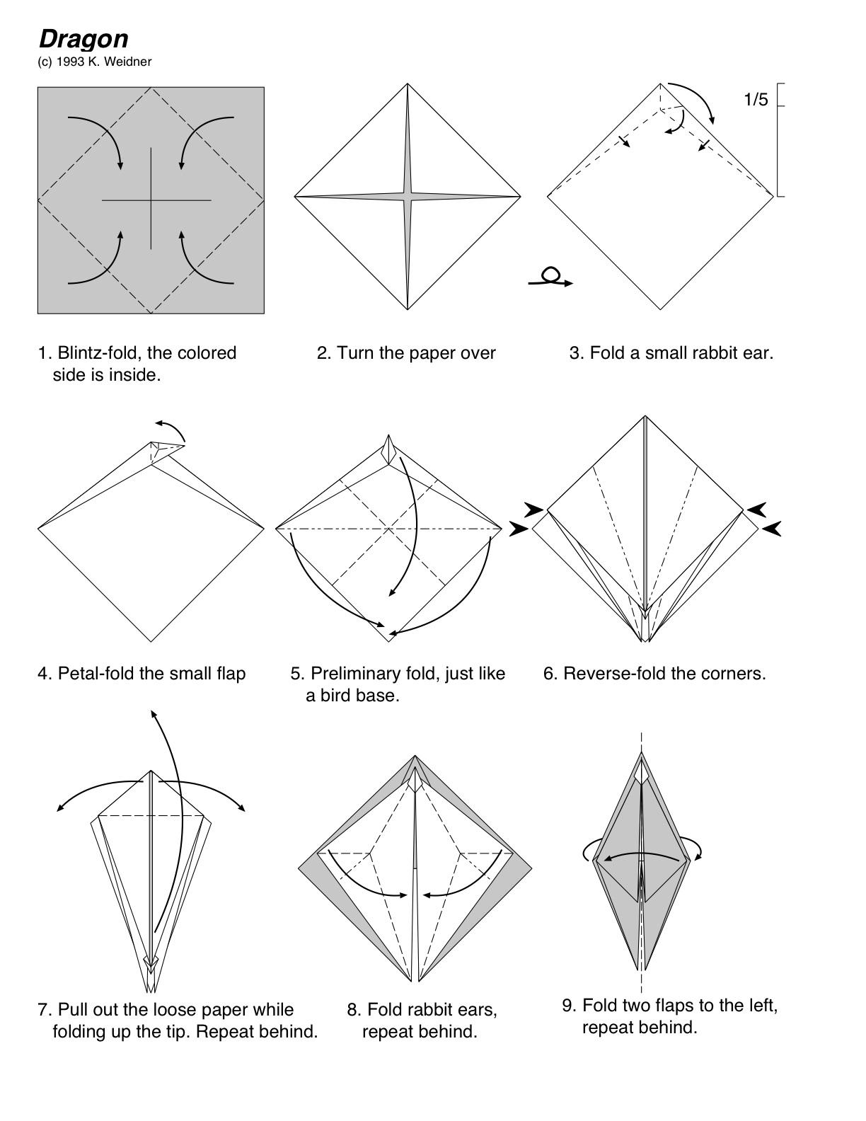 Дракон из оригами схема сборки
