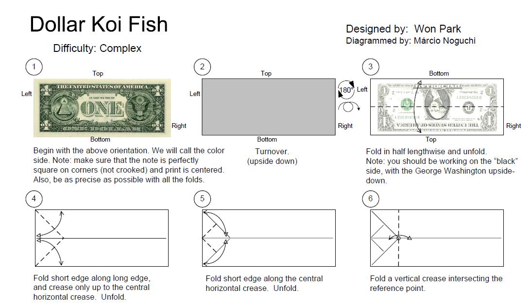 Оригами рыба карп из денег: