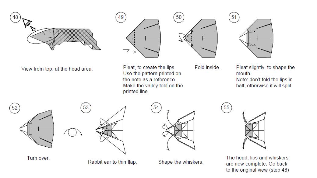 Схема оригами из денег - Из