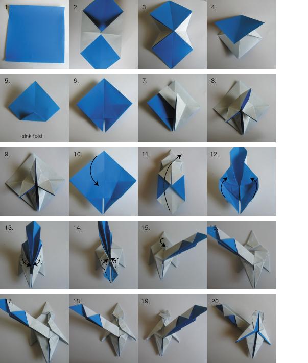 Оригами человек из бумаги: