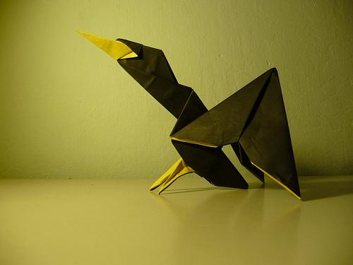Оригами птица из бумаги: схема