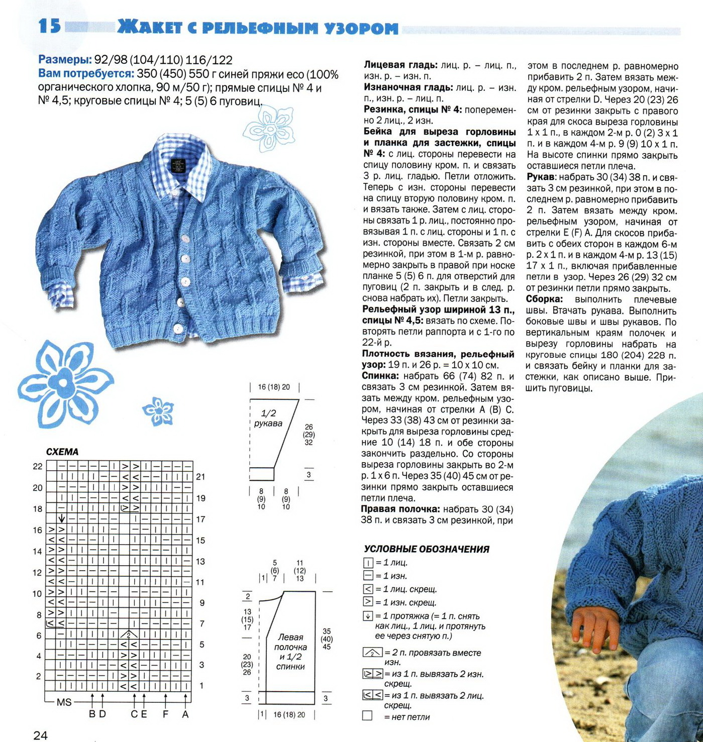 Схемы спицами для детской кофты спицами