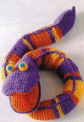 Cхема вязания змеи крючком