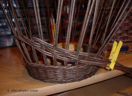 Косое плетение из газет на примере плетеной корзинки 1379404257_11