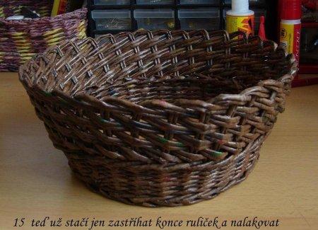 Косое плетение из газет на примере плетеной корзинки 1379404298_20