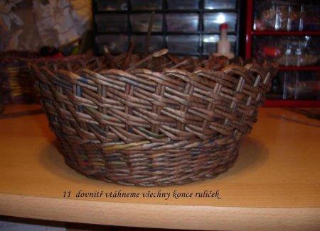 Косое плетение из газет на примере плетеной корзинки 1379404322_16