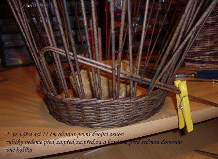 Косое плетение из газет на примере плетеной корзинки 1379404326_9