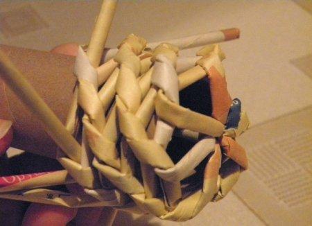 Спиральное плетение из газет: мастер класс на примере пасхального декора 1379407626_15