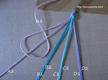 Начать фенечку косым плетением