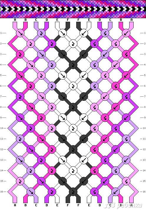 Прямое плетение фенечек три цвета
