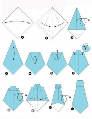 Оригами открытка рубашка: