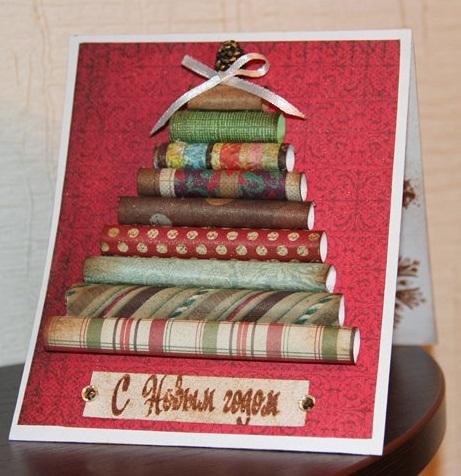 Делаем объемную открытку на новый год