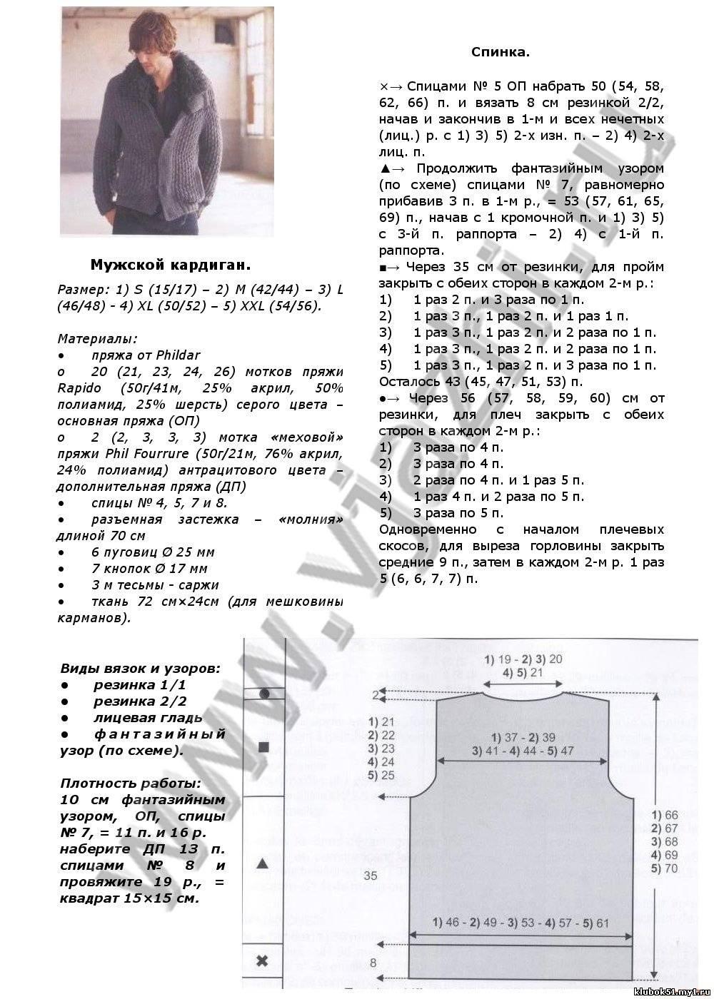 Схемы вязания теплого кардигана спицами