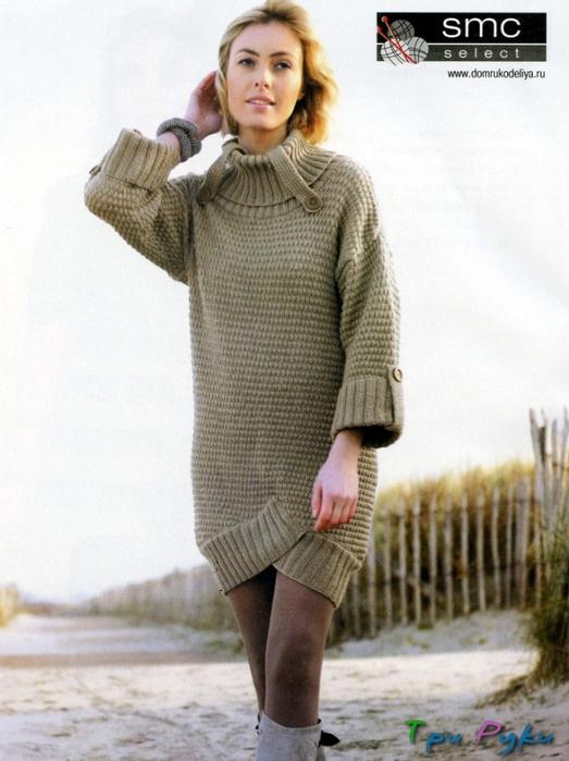 схема вязания спицами платья туники для женщины
