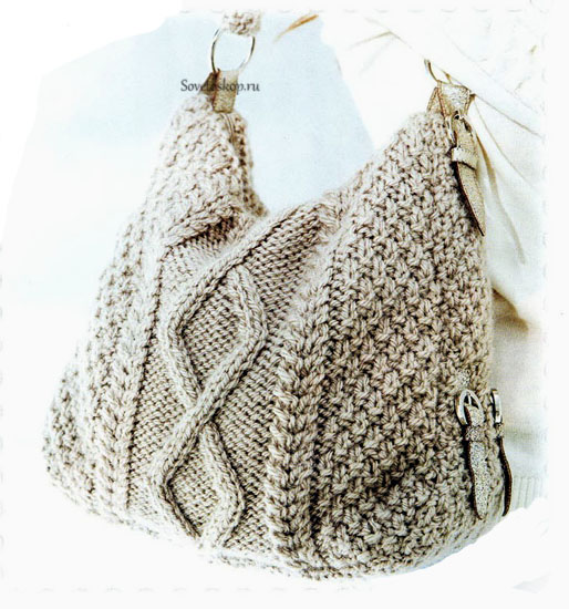ac94d28cefbb Вязание бежевой женской сумки спицами: схема с описанием
