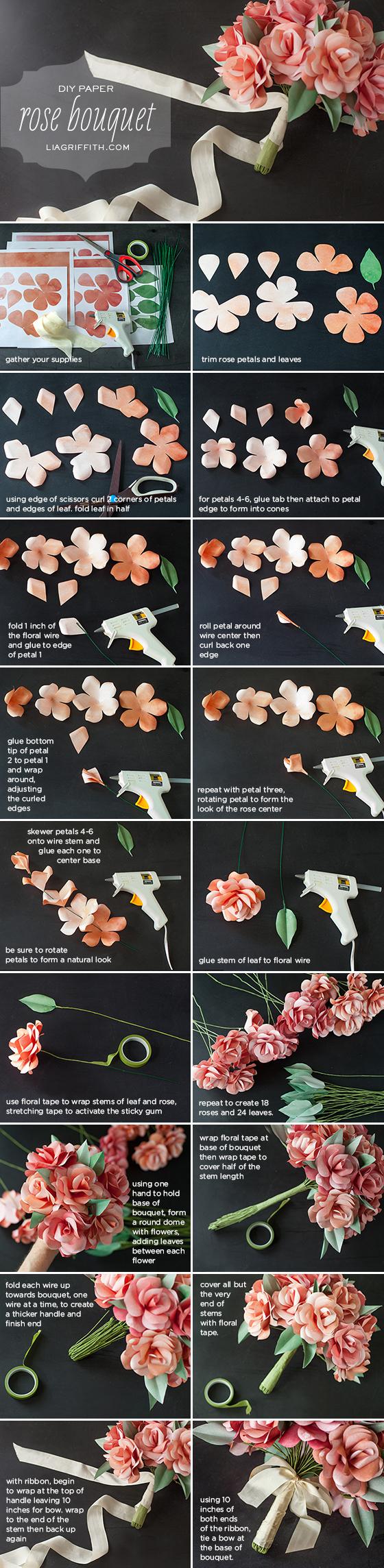 Как сделать из бумаги красивый букет роз