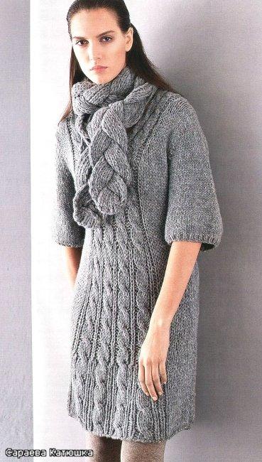 вязание спицами платья для женщин с описанием