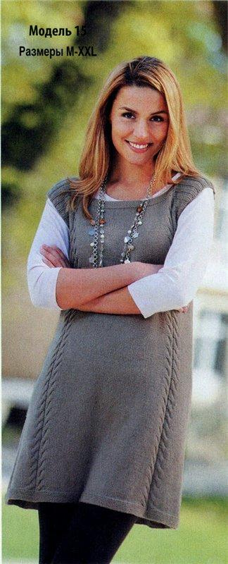 Вязание спицами платья-туники