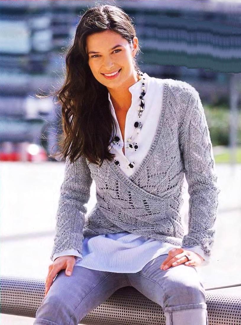 ажурное вязание спицами женской кофточки схема симпатичного