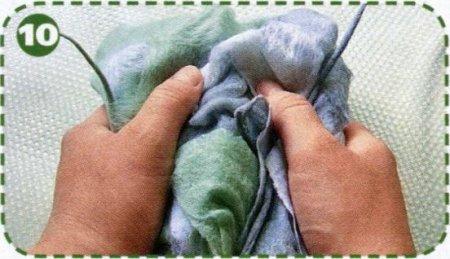 Валяние шарфа сетки