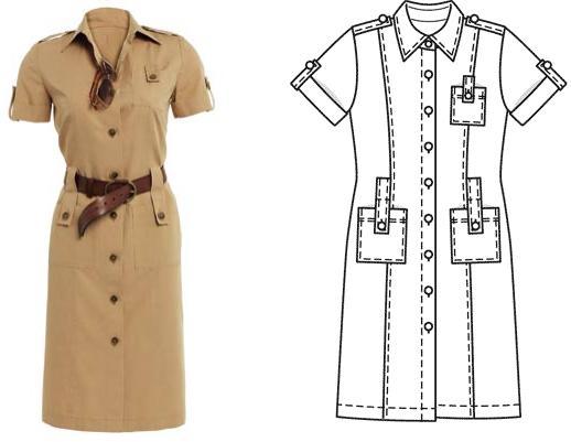Сафари платье с выкройкой фото
