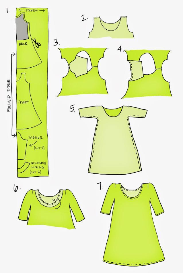 Выкройка платья без вытачек с рукавами