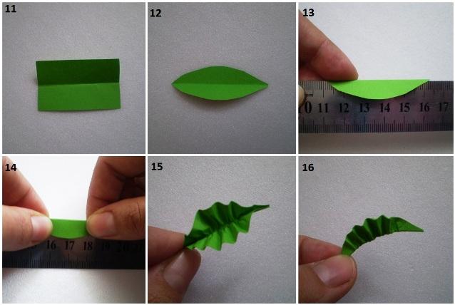 Зеленые листья для цветов из бумаги