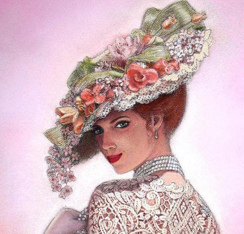 Вышивка крестом дама в шляпе