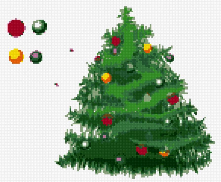 Вышивка крестом елка схема вышивки