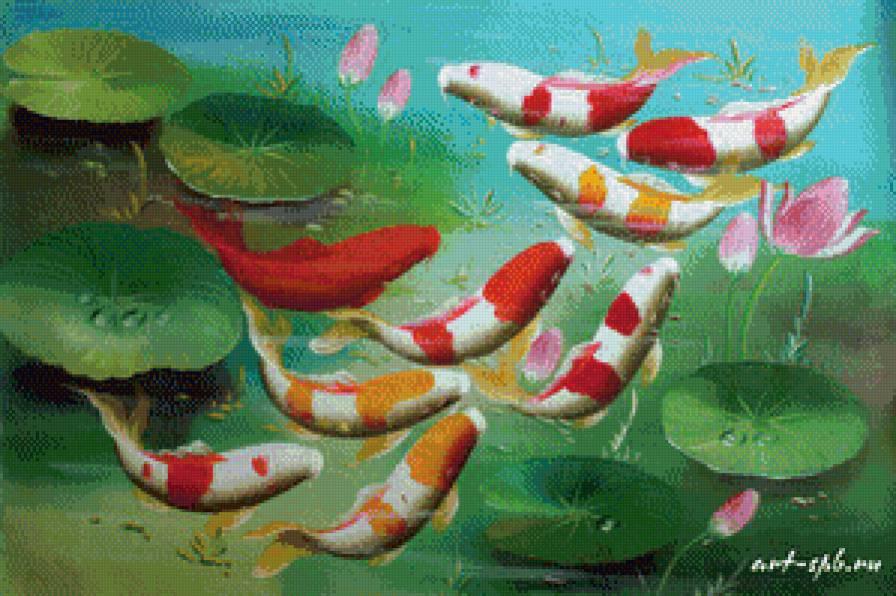 Вышивка рыба в пруду 2