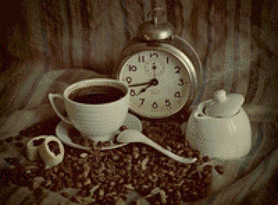 Схема вышивки кофейная тема