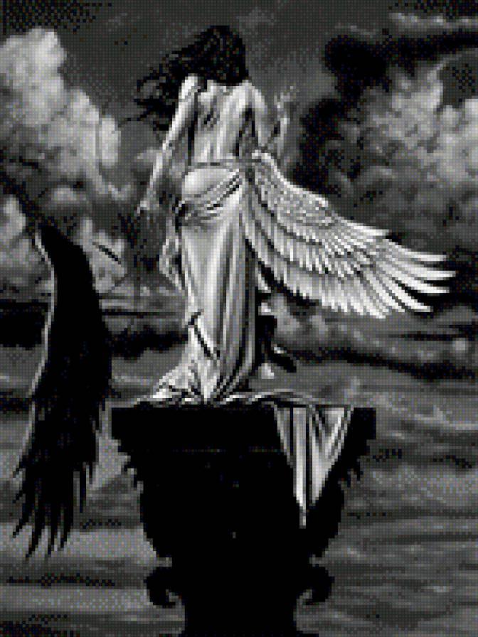 Вышивка крестом черно-белые картины схемы бесплатно