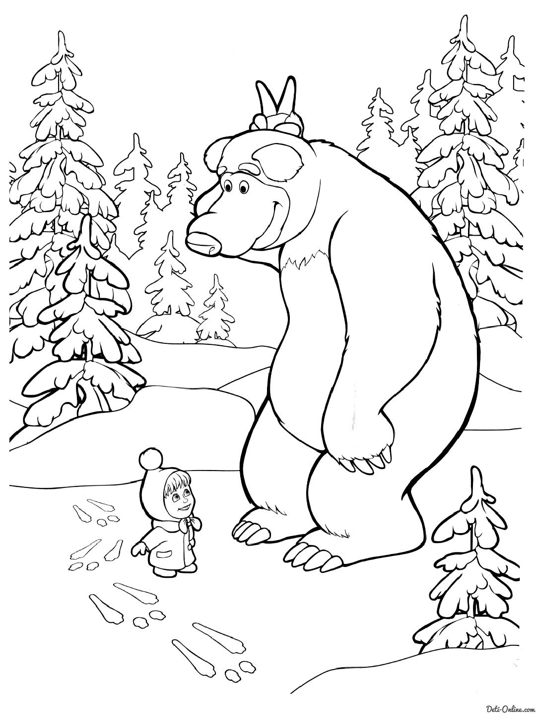 """Раскраски """"маша и медведь"""" скачать и распечатать бесплатно"""