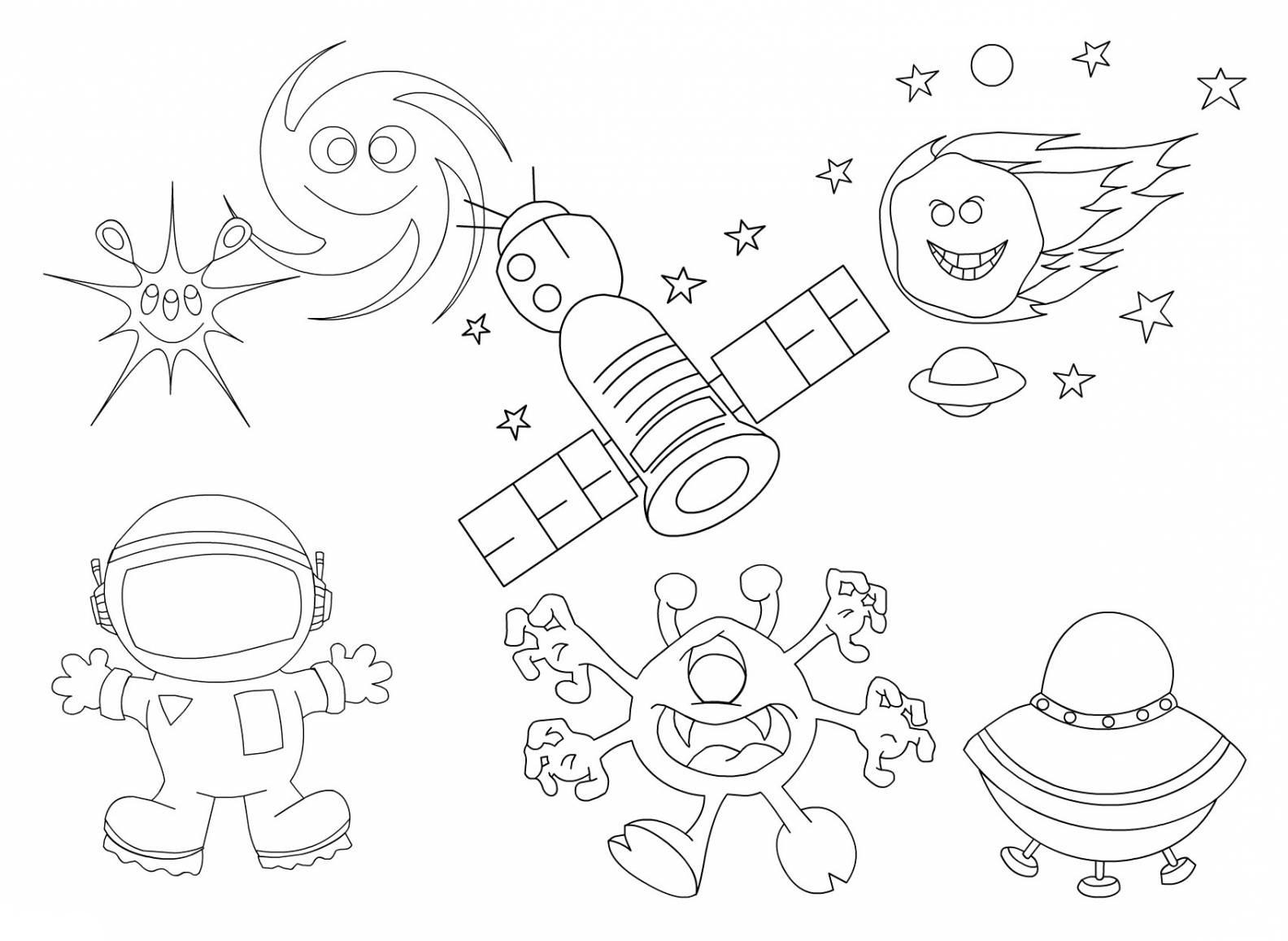 Раскраски космос и планеты распечатать