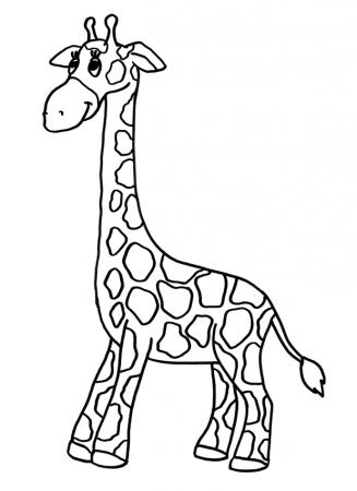 картинка жираф для детей раскраска